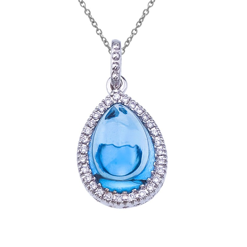 Color Merchants 14K White Gold Pear Shaped Blue Topaz and Diamond Pendant