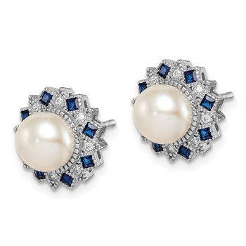 Sterling Silver RH-plated FWC Pearl/Syn. Blue Spinel/CZ Earrings