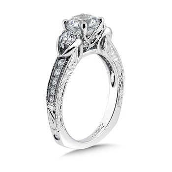Inspired Vintage 3-Stone Engagement Ring in 14K White Gold with Platinum Head (1ct. tw.)