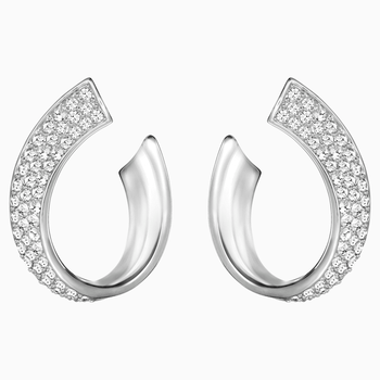 Exist Pierced Earrings, White, Rhodium plated