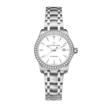 Manero AutoDate 30mm Stainless Diamond Womens Watch