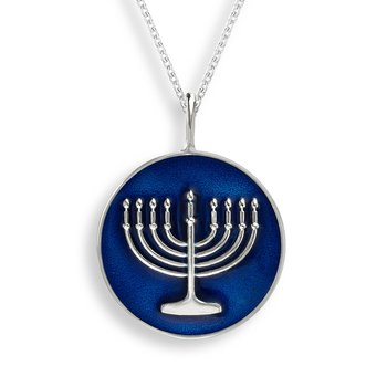 Blue Menorah Necklace.Sterling Silver