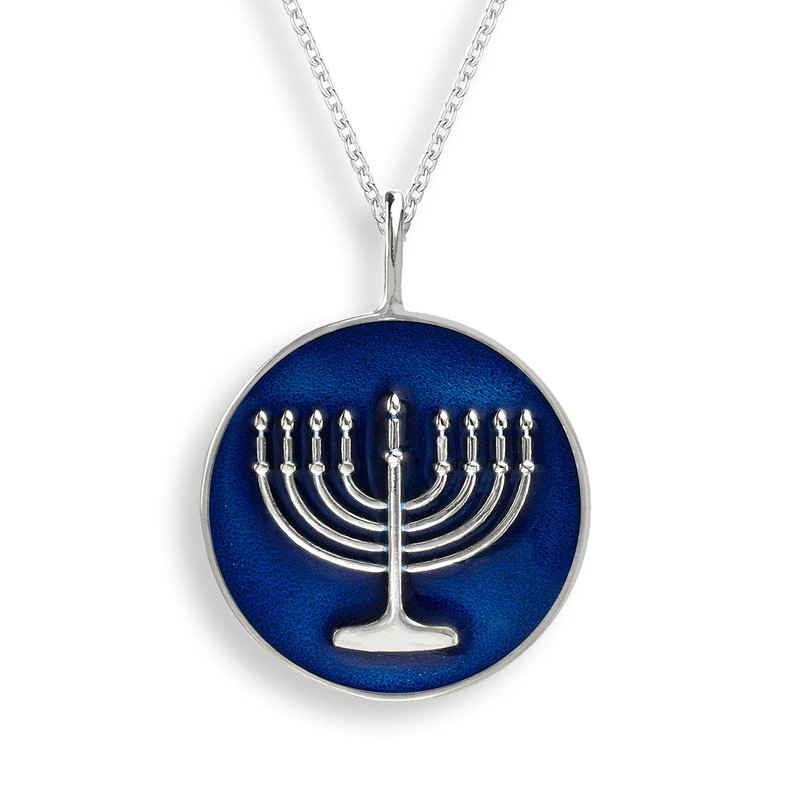 Nicole Barr Designs Blue Menorah Necklace.Sterling Silver