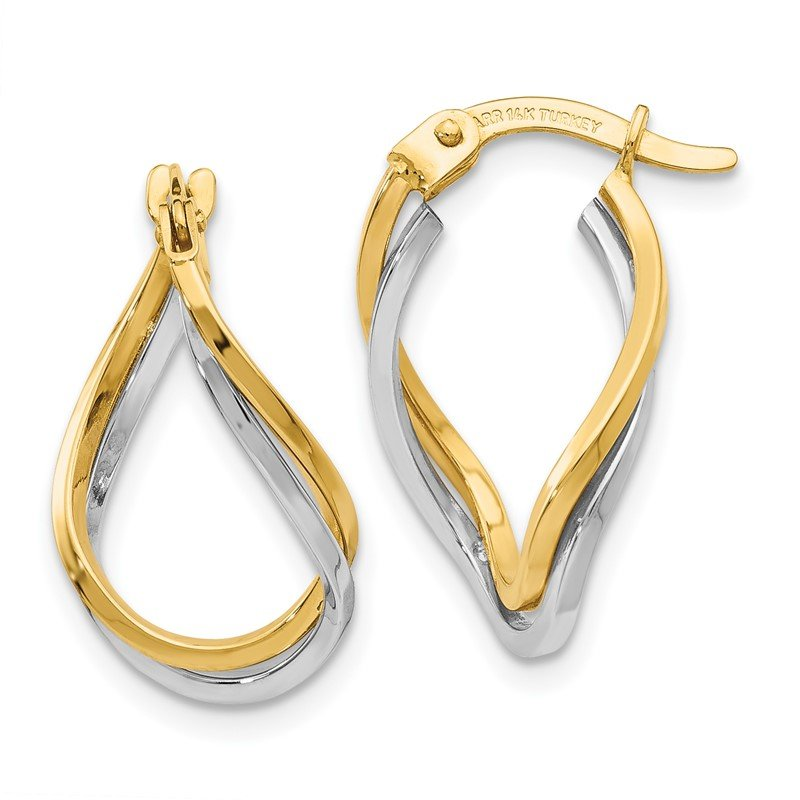 Quality Gold 14k Two-tone Twisted Hoop Earrings