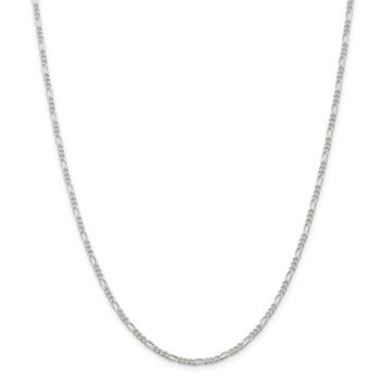 Sterling Silver Rhodium-plated 2.25mm Figaro Chain