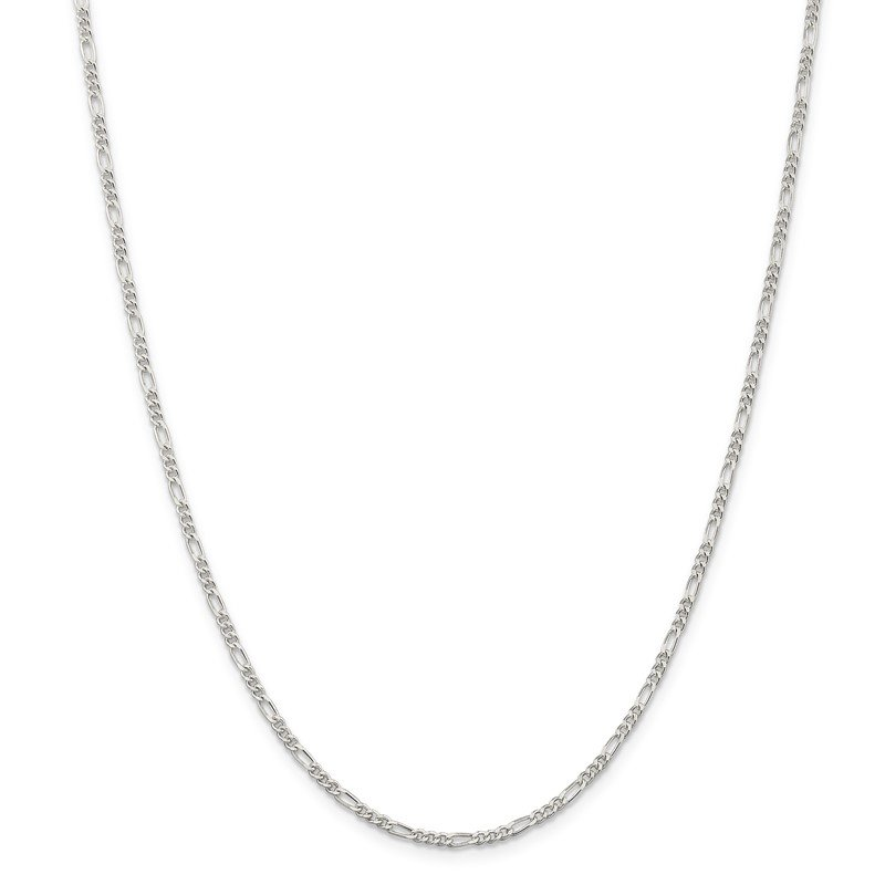 Quality Gold Sterling Silver Rhodium-plated 2.25mm Figaro Chain