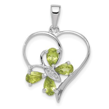 Sterling Silver Rhodium Peridot & Diamond Butterfly Heart Pendant