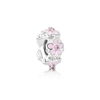 Magnolia Bloom Spacer, Pale Cerise Enamel & Pink CZ