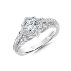 Valina Diamond Halo Engagement Ring Mounting in 14K White Gold (0.52 ct. tw.)
