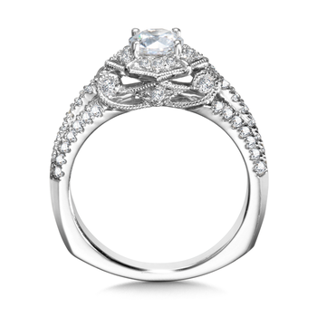 Diamond Halo Engagement Ring Mounting in 14K White Gold (0.52 ct. tw.)