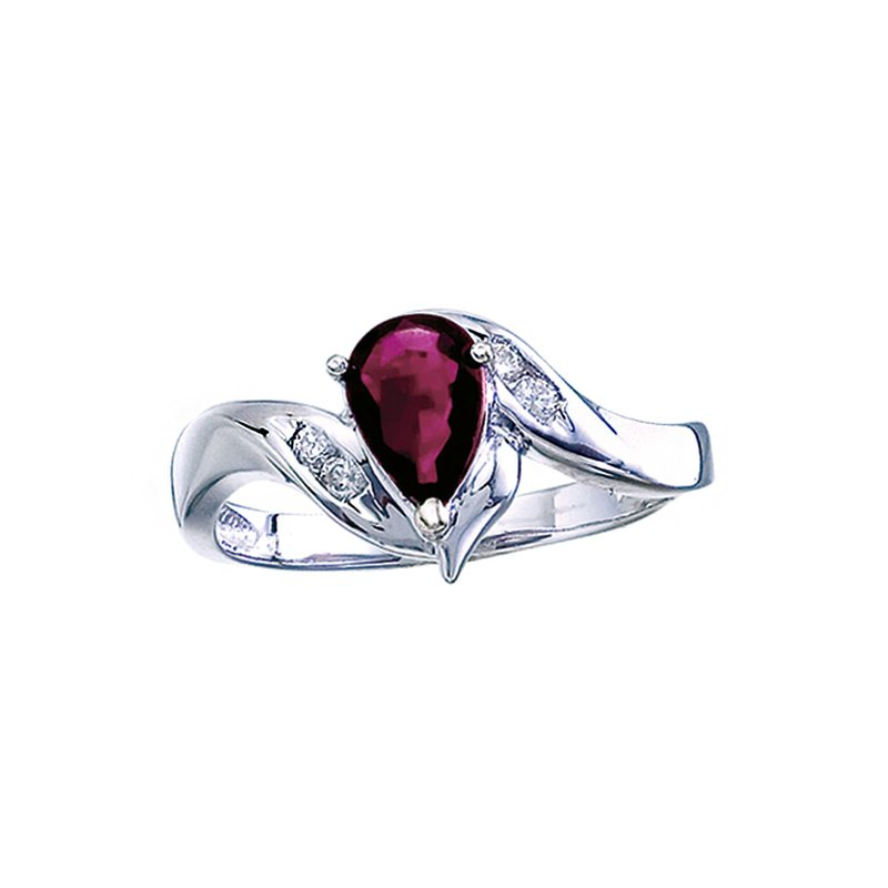 Color Merchants 14k White Gold Pear Ruby And Diamond Swirl Ring