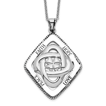 Sterling Silver Antiqued Family Blessings 18in Necklace