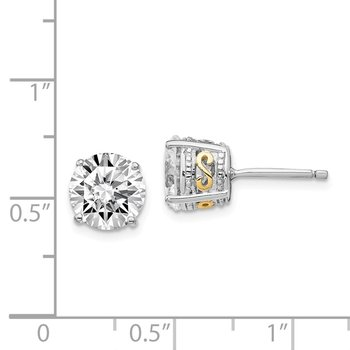 Cheryl M Sterling Silver & Gold-plated 8mm CZ Stud Earrings