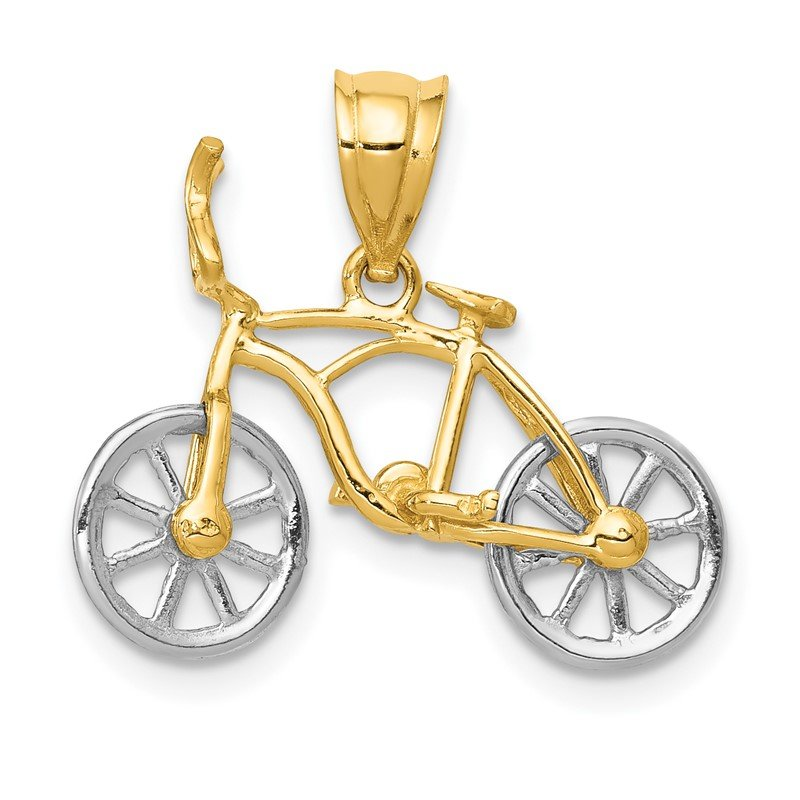 Quality Gold 14k Two-tone 3D Moveable Bicycle Pendant