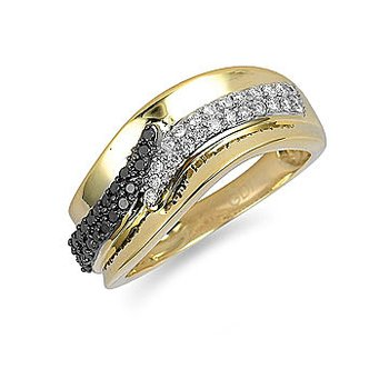 14K YG Black and White Diamond Band in Prong Setting