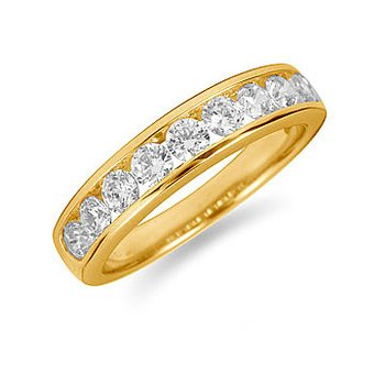 14K YG Diamond Channel Set 9 Round Stone Band