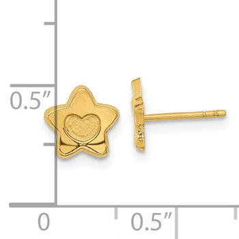 14k Madi K Satin and Polished Heart in Star Post Earrings