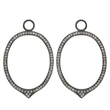 Diamond Open Oval Earring Charms in 14k White Gold with 134 Diamonds weighing .56ct tw.