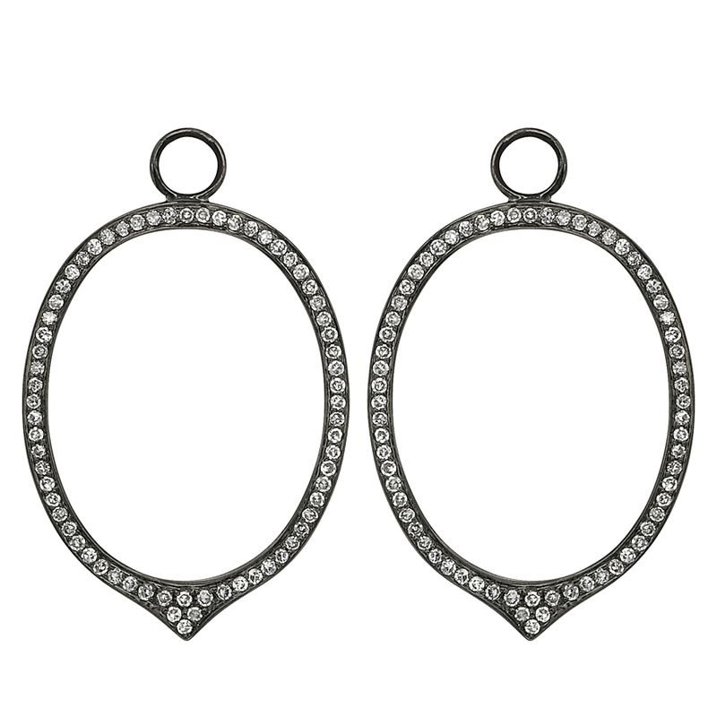 Everyday Diamonds by MAZZARESE Diamond Open Oval Earring Charms in 14k White Gold with 134 Diamonds weighing .56ct tw.