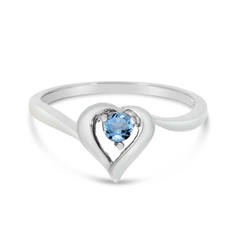 Color Merchants 10k White Gold Round Blue Topaz Heart Ring