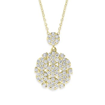 Diamond Floral Necklace in 14K Yellow Gold with 62 Diamonds Weighing  .52ct tw
