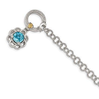 Sterling Silver w/ 14K Accent Lt Swiss Blue Topaz & Diamond 7.5in Toggle Br