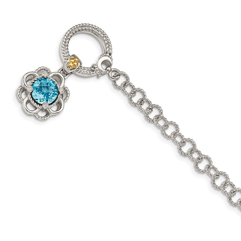 Shey Couture Sterling Silver w/ 14K Accent Lt Swiss Blue Topaz & Diamond 7.5in Toggle Br