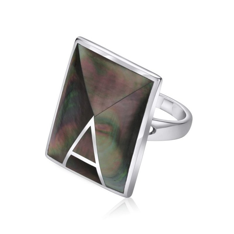 LARUS Jewelry Rectangular Mother of Pearl Ring