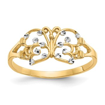 14k w/ Rhodium Diamond-cut Butterfly Ring