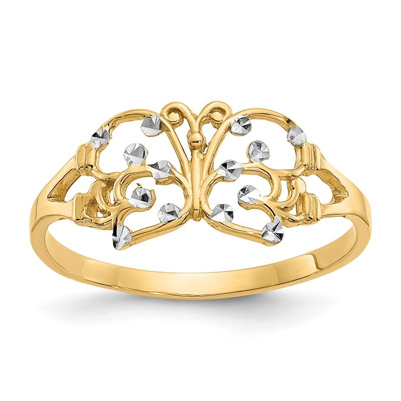 J.F. Kruse Signature Collection 14k w/ Rhodium Diamond-cut Butterfly Ring