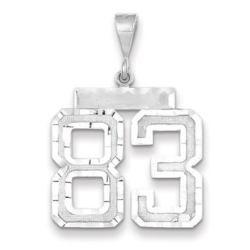 14k White Gold Large Diamond-cut Number 83 Charm