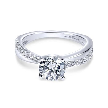 14k White Gold Pave Criss Cross Round Diamond Engagement Ring