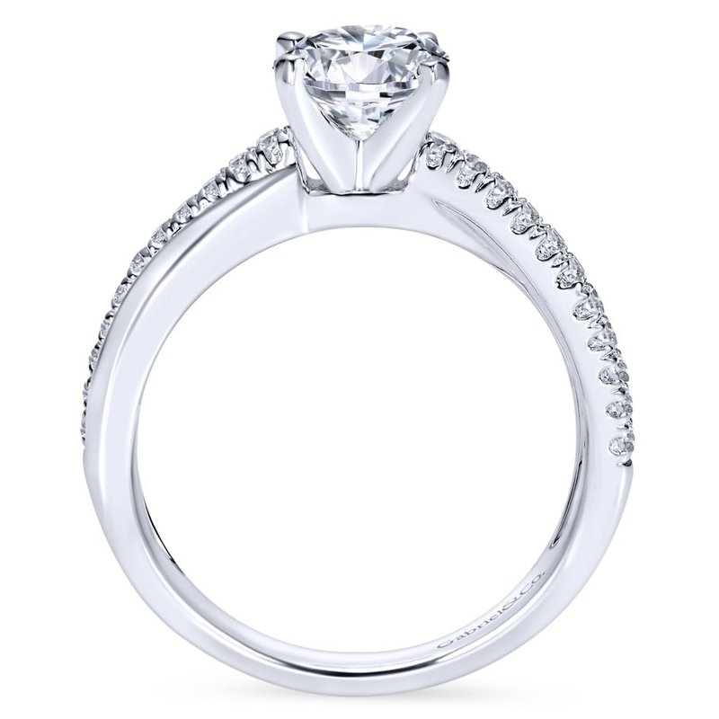 Gabriel Bridal Bestsellers 14K White Gold Round Twisted Diamond Engagement Ring