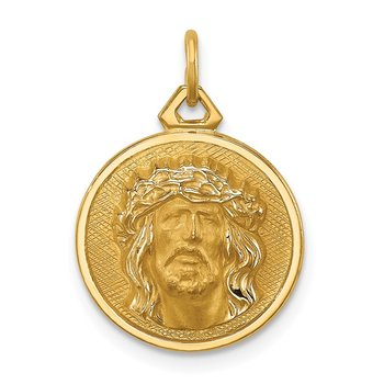 14k Hollow Polished/Satin Small Round Jesus Medal