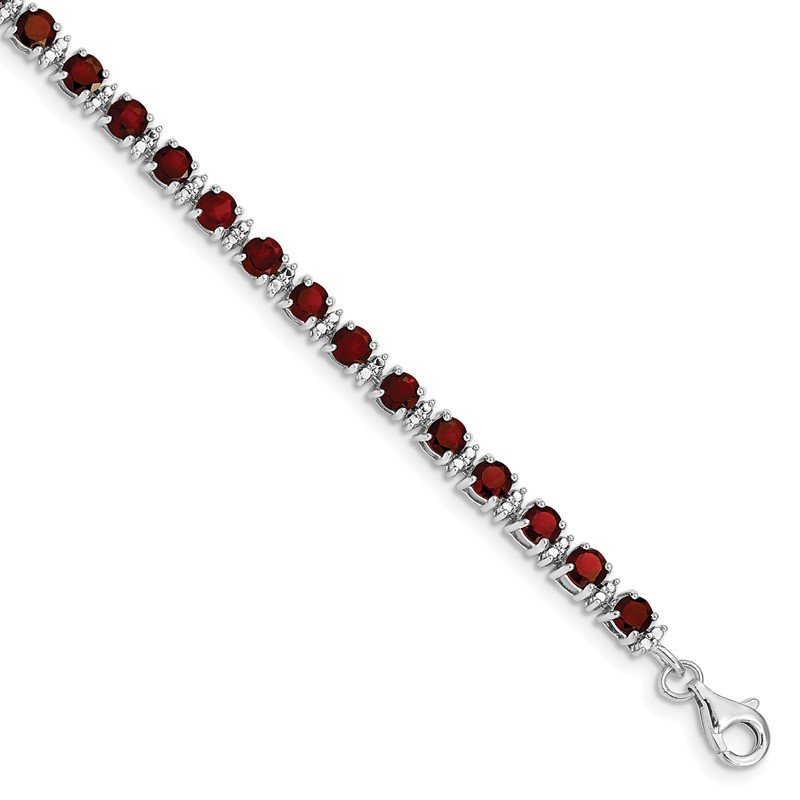 Quality Gold Sterling Silver Rhodium-plated Garnet and Diamond Bracelet