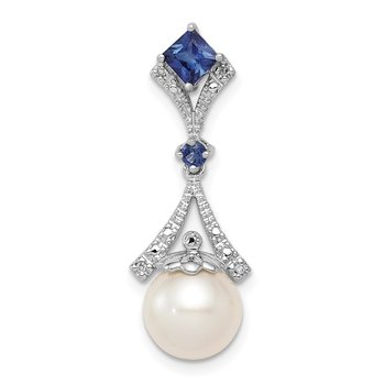 Sterling Silver Rhod Plated Dia. Created Sapphire FW Cultured Pearl Pendant