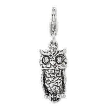 Sterling Silver Antiqued w/ CZ 3D Owl Lobster Clasp Charm
