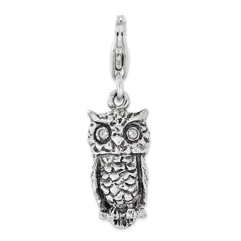 Arizona Diamond Center Collection Sterling Silver Antiqued w/ CZ 3D Owl Lobster Clasp Charm