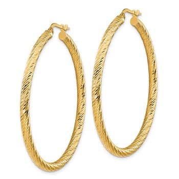 14k 3x40mm Diamond-cut Round Hoop Earrings
