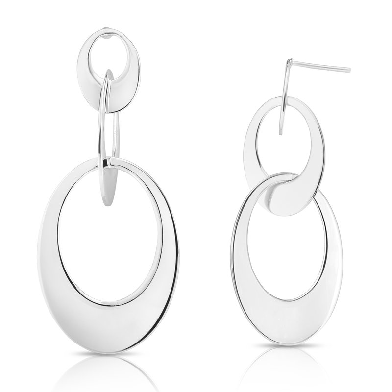 Royal Chain Silver Wide Linked Oval Earring