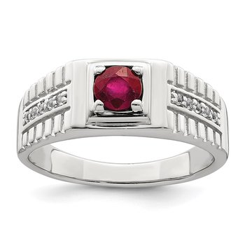 Sterling Silver Men's African Ruby and White Topaz Ring