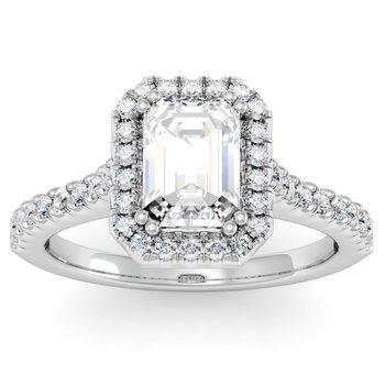 Emerald Diamond Halo Engagement Ring