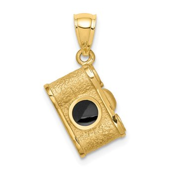 14K Brushed & Polished Enameled Camera Pendant