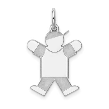 Sterling Silver Rhodium-plated Kid Charm