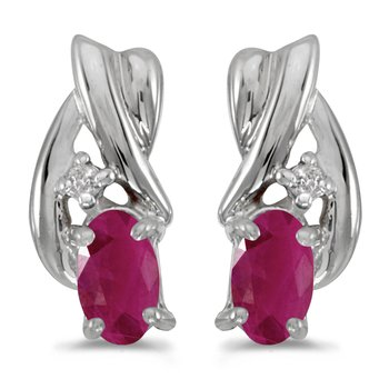 10k White Gold Oval Ruby And Diamond Earrings