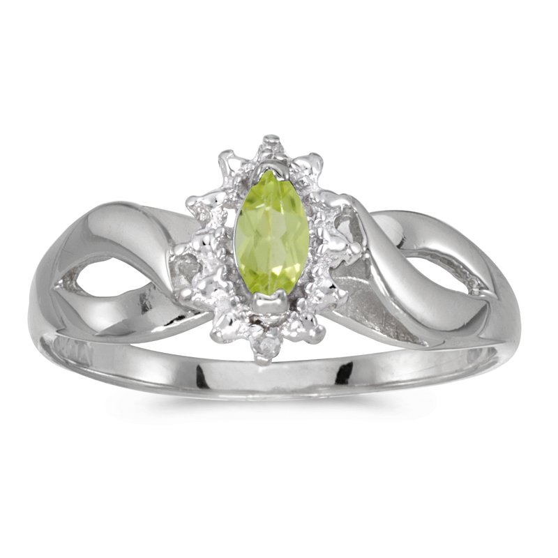 14k White Gold Marquise Peridot And Diamond Ring