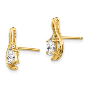 14k White Topaz and Diamond Post Earrings