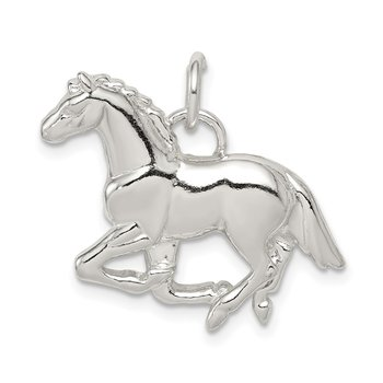 Sterling Silver Polished & Textured Horse Pendant