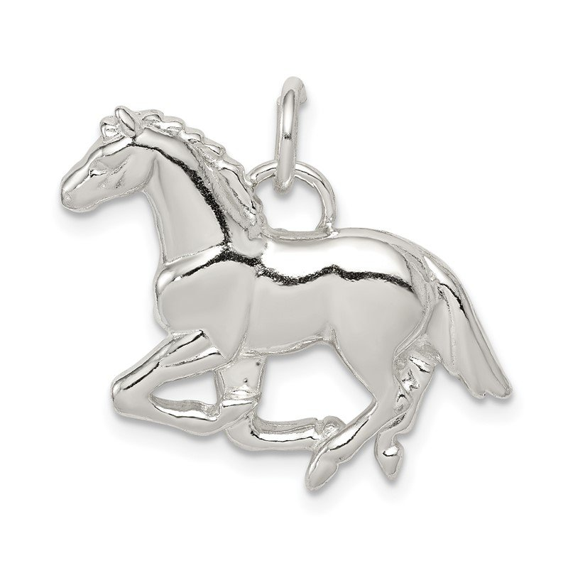 Quality Gold Sterling Silver Polished & Textured Horse Pendant