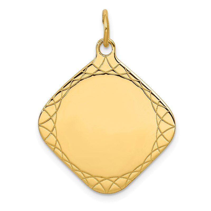 Quality Gold 14k Patterned .018 Gauge Diamond-Shaped Engravable Disc Charm